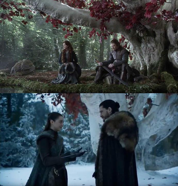 When Arya and Jon had their sweet reunion in the season eight premiere, lots of fans pointed out that it mirrored Ned and Catelyn in the godswood.