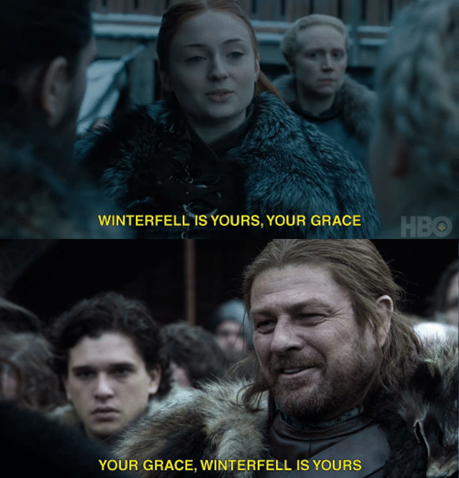 When Robert Baratheon and Daenerys Targaryen arrive in Winterfell they are both greeted by the head of House Stark who tells him