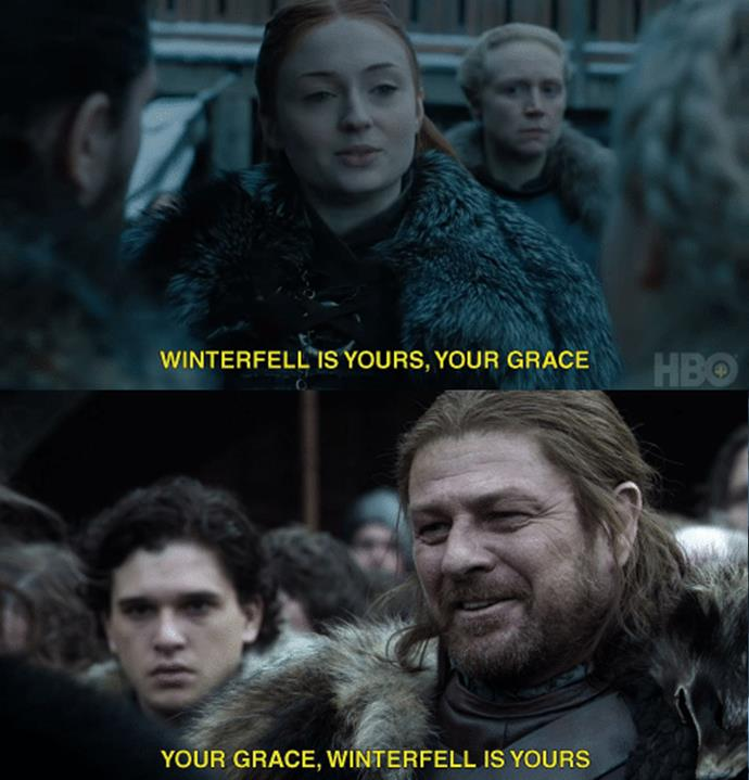 "When Robert Baratheon and Daenerys Targaryen arrive in Winterfell, they are both greeted by the head of House Stark, who tells him ""Winterfell is yours."" Like father, like daughter."