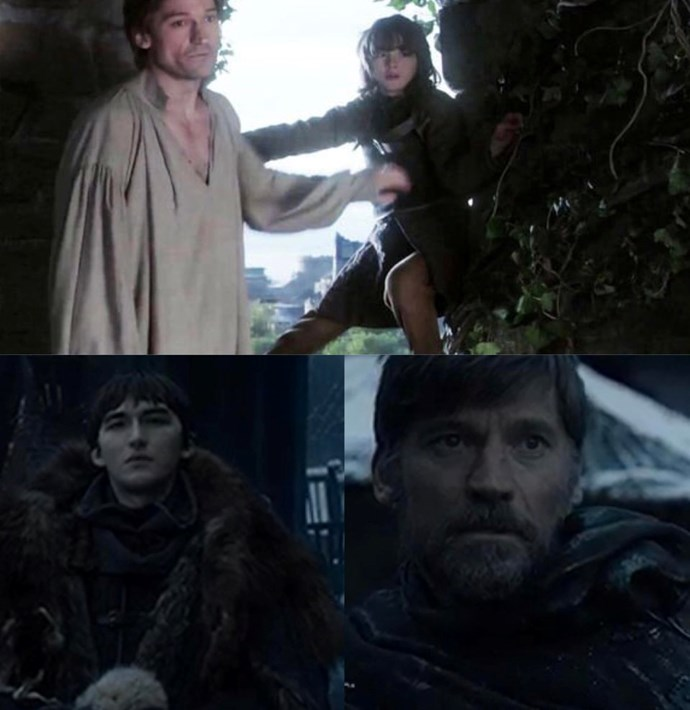 """For the first time since episode one, Bran Stark and Jaime Lannister were reunited. But this time, it was Jaime looking scared, instead of Bran.<br><br> Image via [Reddit](https://www.reddit.com/r/gameofthrones/comments/bdawic/spoilers_the_beginning_of_the_end/ target=""""_blank"""" rel=""""nofollow"""")."""