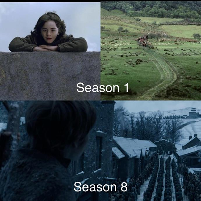 "A little throwback, but as Daenerys' procession arrives in Winterfell, a young boy climbs up a tree onto the battlements to watch the army march in. Bran Stark did the exact same thing in the first episode.<br><Br> Image via [Reddit](https://www.reddit.com/r/gameofthrones/comments/axn3tr/spoilers_weve_come_so_far_and_the_parallels_are/|target=""_blank""