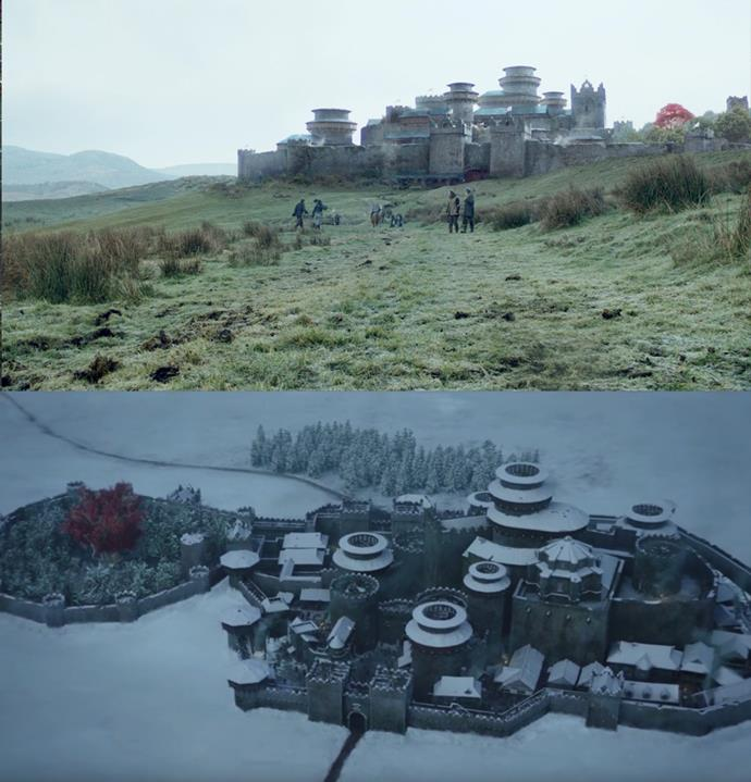 In the first episode, the show gives us our first glimpse of Winterfell, which despite the snow, is covered in grass and trees. When we return in season 8, however, everything is covered in a thick blanket of snow. Winter is coming, indeed.