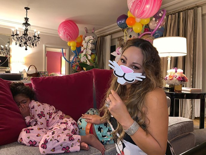 """***Mariah Carey***<br><br> """"Waiting for my friend the Easter Bunny!!!! 🐰 (pre festivities celebrations 😉)"""""""