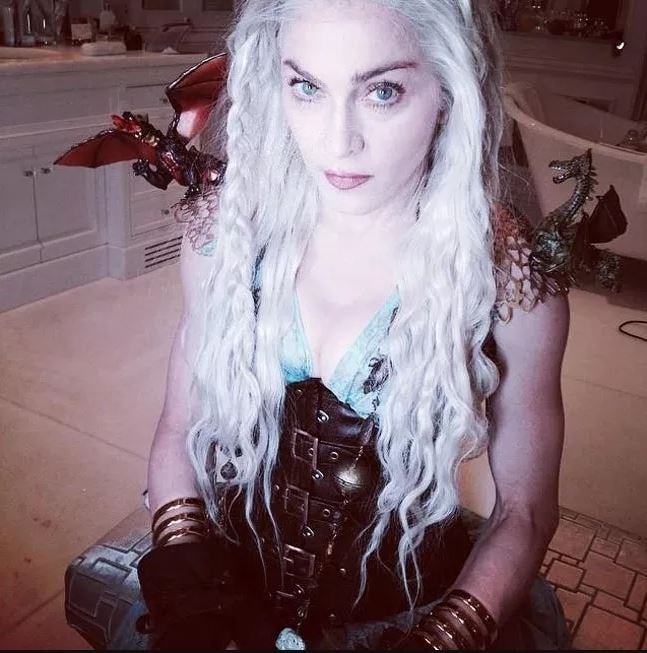 """**Madonna**<br><br>  Is it any surprise that the queen of pop chose to dress up as the queen of dragons? Not to us, it isn't. Madonna donned Daenerys Targaryen's real costume back in March 2014 to celebrate the Jewish holiday of Purim.<br><br>  Confirmed by Emilia Clarke herself, the actress appeared on *[The Tonight Show](https://www.nydailynews.com/entertainment/tv-movies/madonna-actual-game-thrones-costume-photo-article-1.1727971