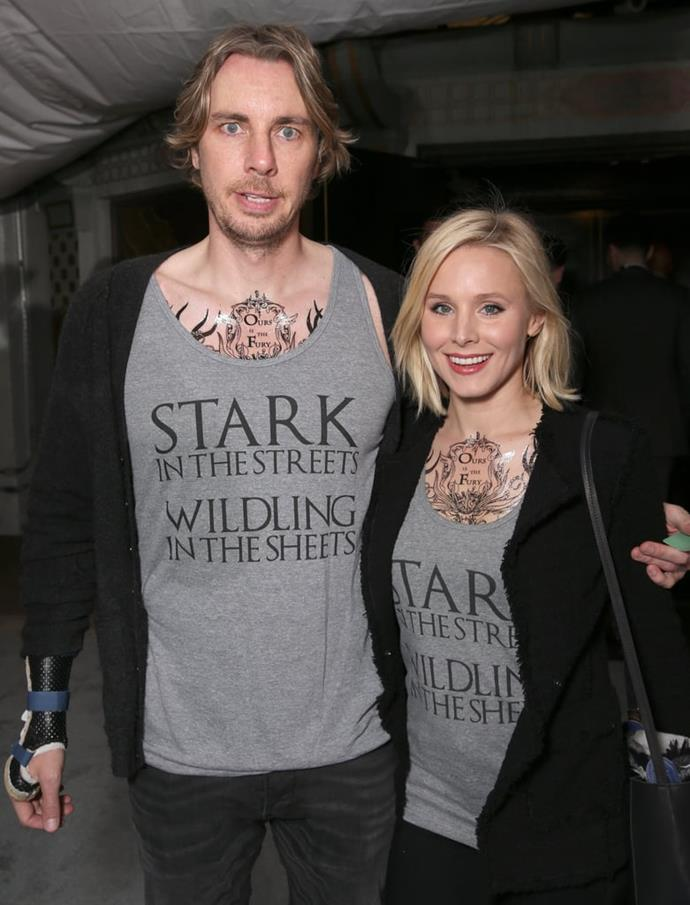 """**Kristen Bell and Dax Shepherd**<br><br>  Possibly two of the biggest *Game Of Thrones* fans in Hollywood, Bell and Shepherd have made their love for the fantasy show known many a time. From custom tees that read 'Stark in the streets, Wildling in the sheets' to that time they dressed up as [Khal Drogo and Khaleesi](https://twitter.com/daxshepard/status/397769678459645953?ref_src=twsrc%5Etfw%7Ctwcamp%5Etweetembed%7Ctwterm%5E397769678459645953&ref_url=https%3A%2F%2Fwww.popsugar.com.au%2Fcelebrity%2Fphoto-gallery%2F43811311%2Fembed%2F43811298%2FWhen-She-Played-Out-Sexual-Fantasies-Between-Tyrion-Her-Frozen-Character