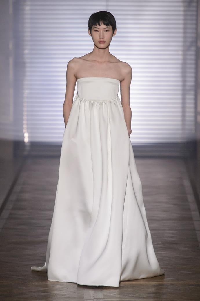 "**BEST BRIDAL GOWN** <br><br> *Givenchy by Clare Waight Keller, Spring 2018 Couture, Look 18* <br><br> ""Not from a bridal collection, but taken from couture. Claire Waight-Keller has had a huge year in terms of wedding dresses, designing the Duchess of Cambridge's iconic gown. This collection, in particular this dress, illustrates the strength of tailoring, in a feminine way. It is romantic yet simple and strong."" <br><br> *Image: Jason Lloyd-Evans*"