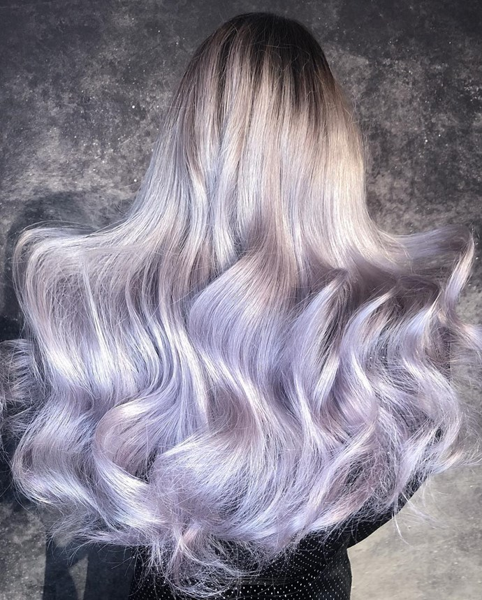***Lavender Grey***<br><br> Grey hair had its moment in the salon chair last year, but this year's update sees it get a Millennial upgrade with 'Lavender Grey'. <br><br> After painstakingly dying the hair into a light grey, a lavender tint is applied over top, which gives it an ethereal and fun finish.