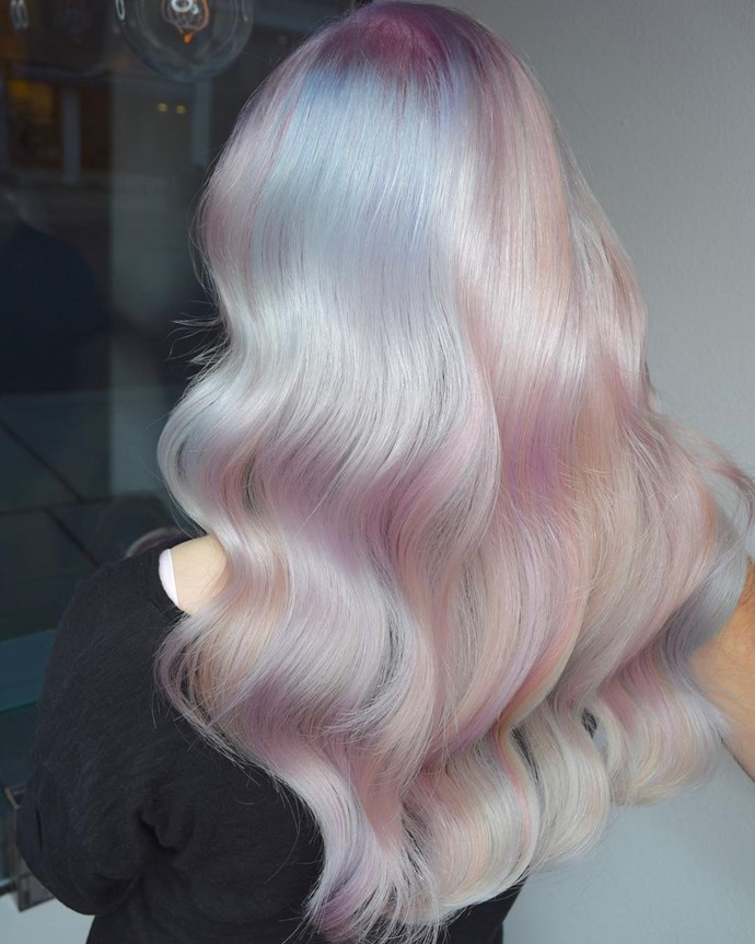 ***Opal***<br><br> If you don't mind a few hours in the chair, 'Opal' is 2019's answer to the pastel wave that dominated 2018. A muted take that uses purples, pinks, greens and blues over a base of pearly platinum, the hair is left looking like your favourite sparkling Instagram filter.