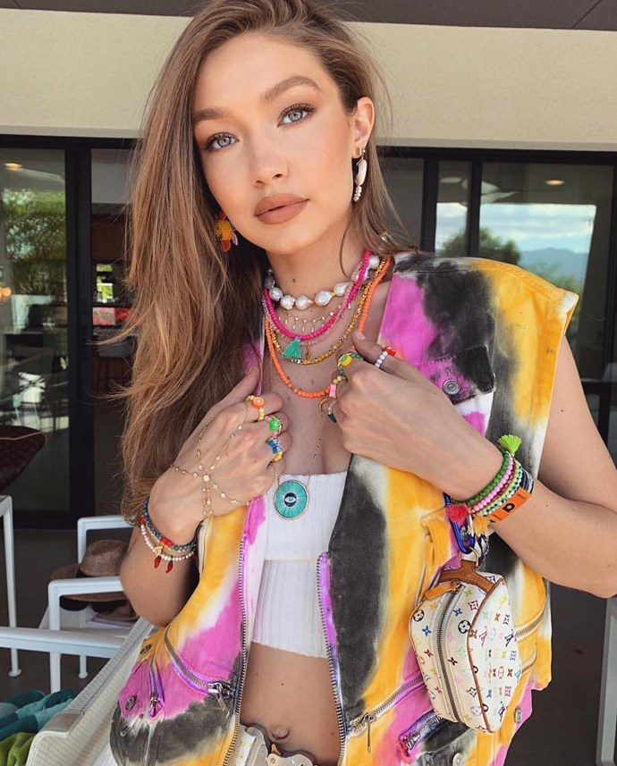 """Gigi Hadid in the ['Pearth' earrings](https://www.eliou-eliou.com/collections/earrings/products/pearth-earring target=""""_blank"""" rel=""""nofollow""""), ['Asti' necklace](https://www.eliou-eliou.com/collections/necklaces/products/color-necklace target=""""_blank"""" rel=""""nofollow"""") and ['Hot Chili' bracelet](https://www.eliou-eliou.com/collections/bracelets/products/hot-chili target=""""_blank"""" rel=""""nofollow"""")."""