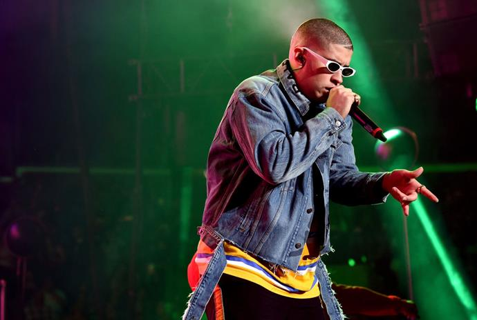 Bad Bunny sings a line in Spanish
