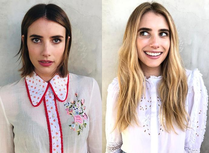 "**Emma Roberts:** The 28-year-old actress has had plenty of hair changes in the first few months of 2019, taking her blonde bob to brunette In February, and now switching from her shoulder-grazing dark tresses to long, blonde mermaid hair. ""Annnnnd we're back. Sunrise blonde & whisper waves,"" she captioned the Instagram reveal of her new 'do."