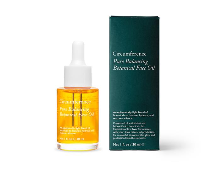 "Balancing face oil by Circumference, $155.86 at [Need Supply Co.](https://needsupply.com/pure-balancing-botanical-face-oil.html|target=""_blank""