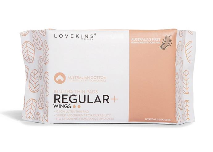 "[Lovekins Women regular wings 10 pack, $6](https://www.lovekins.com/product/10-ultra-thin-pads-regular-wings/|target=""_blank""