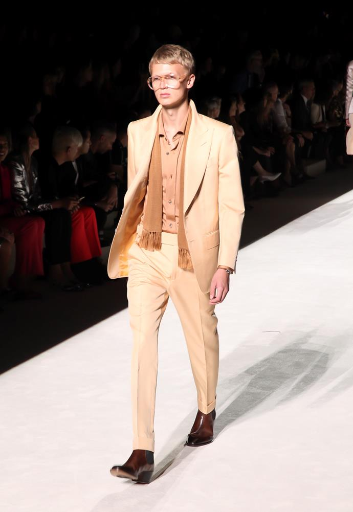 "**BEST GROOM COLLECTION** <br><br> *Tom Ford / Spring – Summer 2019 Collection* <br><br> *ELLE* Sweden—""Cool and classic—taking the wedding smoking jacket to the next level."" <br><br> *Image via [Getty Images](https://www.gettyimages.com.au/detail/news-photo/model-walks-the-runway-at-tom-ford-ss19-fashion-show-at-news-photo/1027518732?adppopup=true
