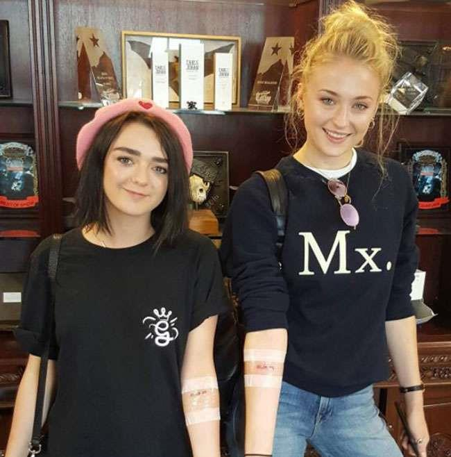 #Mophie forever. Both Maisie and Sophie have the date they were cast in *Game of Thrones* tattooed in white ink on their forearms.