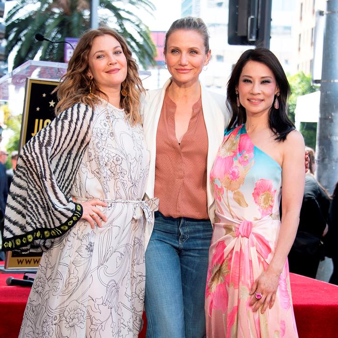 Good morning, angels! The original *Charlie's Angels* cast in Drew Barrymore, Cameron Diaz and Lucy Liu came back together to celebrate Lucy's star on the Hollywood Walk of Fame.