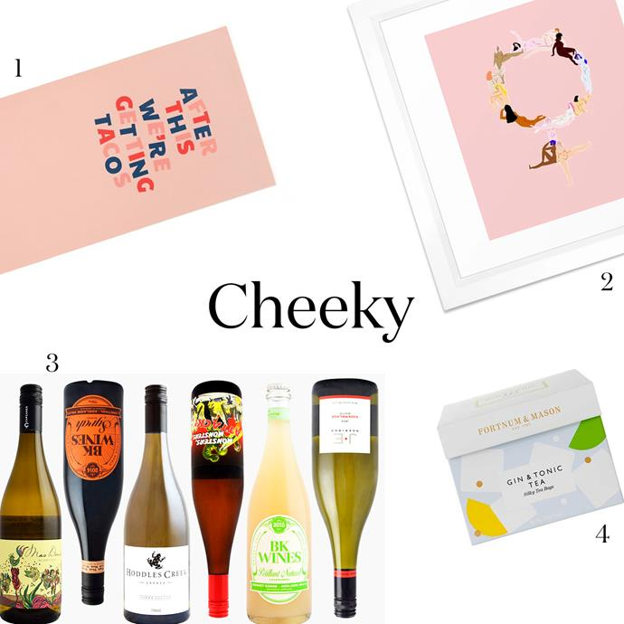 """***A Cheeky Gift***<br><br> Not too serious, but not silly, either.<Br><br> 1. A cute yoga mat, for the partially-committed yogi. Yoga mat, $45, [Bando](https://www.bando.com/products/work-it-out-exercise-mat-after-this-were-getting-tacos
