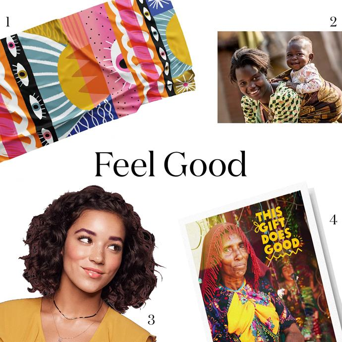 """***A Feel Good Gift***<br><br> If your pressie makes your mum feel good and someone else, it's basically two presents, right?<br><br> 1. A bold scarf, for the cancer-hater. Bravery Co.'s Warror Scarf, $99 (10% of proceeds donated to cancer research), [Bravery Co.](https://www.braveryco.com.au/product-page/wise-eyed-warrior-scarf-by-suzi-kemp