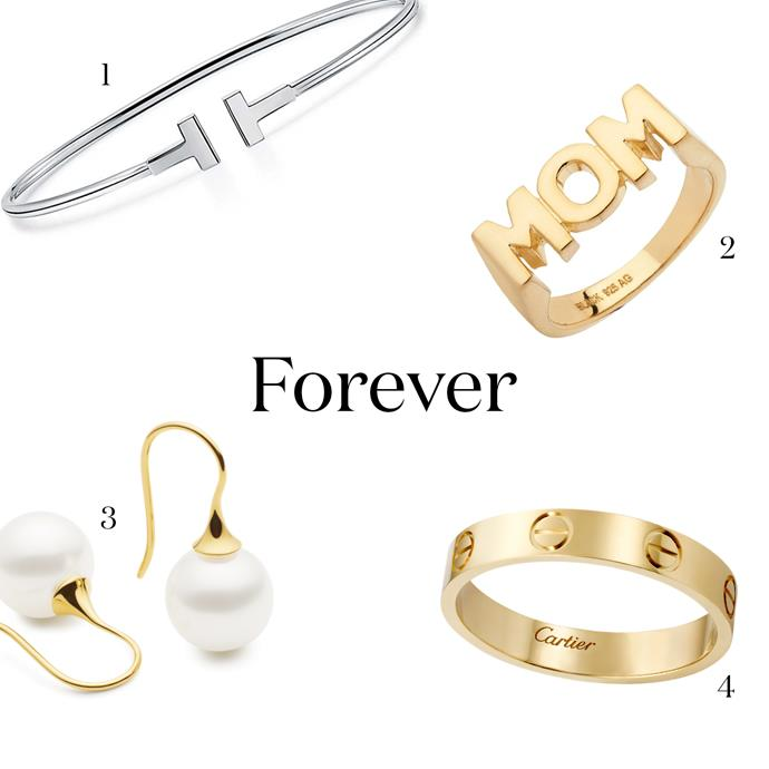 """***A Forever Gift***<br><br> Flowers wilt but gold is forever. Wrangle your siblings and buy her something she'll cherish for a lot longer than  your homemade card—sorry.<br><br> 1. A delicate bangle, for the everyday accessory. Tiffany & Co.'s 'Narrow Wire Bracelet, $2,250, [Tiffany & Co.](https://www.tiffany.com.au/jewelry/bracelets/tiffany-t-narrow-wire-bracelet-GRP07791/