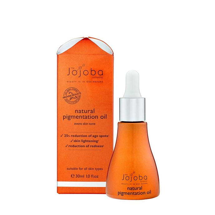 """**For Reducing Pigmentation**<br> *Natural Pigmentation Oil by Jojoba, for $39.95 at [jojoba.com](https://www.thejojobacompany.com.au/products/natural-pigmentation-oil target=""""_blank"""" rel=""""nofollow"""")* <br> Jojoba's Natural Pigmentation Oil, is a great natural alternative for reducing pigmentation, age spots and redness. It's packed full of active ingredients that will give you the results you need within 6 weeks."""