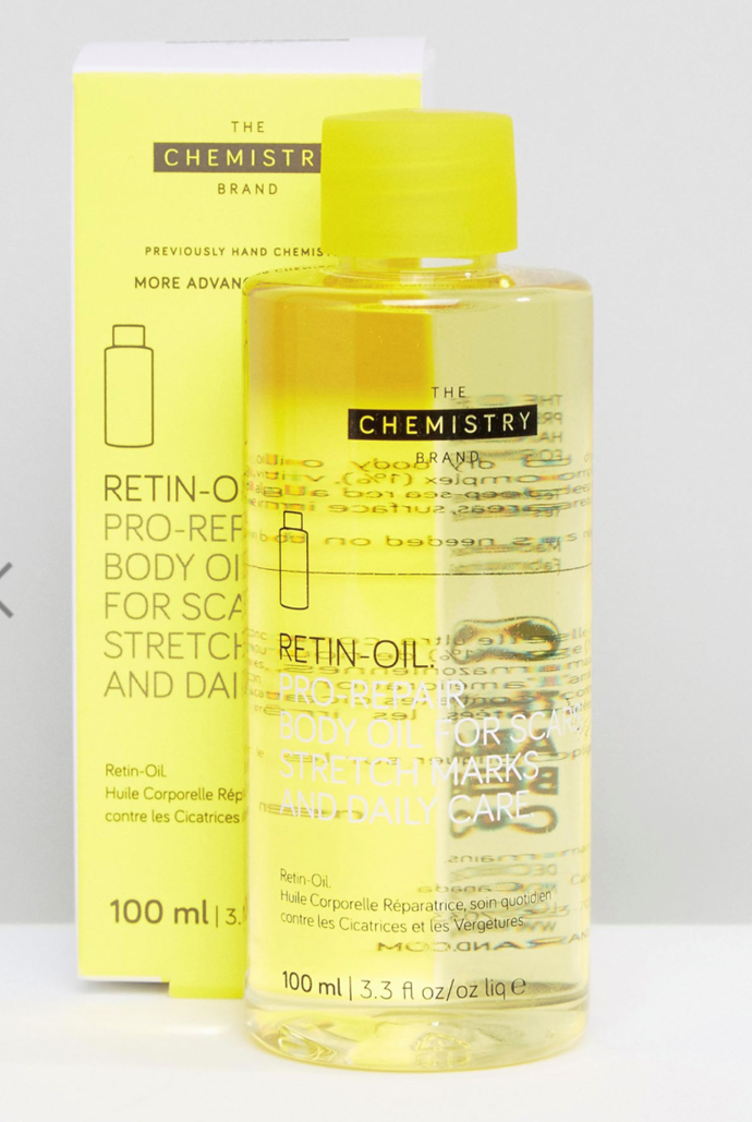 """**Best cult buy**<br> *Retin oil by The Chemistry Brand, for $37 at [asos.com](https://www.asos.com/au/the-chemistry-brand/the-chemistry-brand-retin-oil-100ml/prd/7554569?&channelref=product+search&mk=abc&currencyid=21&channelref=product+search&affid=11148&mk=abc&ppcadref=869250409%7C43446600163%7Cpla-365406025835&gclid=EAIaIQobChMIo4DCvZKG4gIVBB2PCh0JTQAkEAQYBSABEgLhU_D_BwE&gclsrc=aw.ds target=""""_blank"""" rel=""""nofollow"""")* It's no secret that retin oils have taken the world by storm and we know exactly why. Targeting signs of ageing, cellulite, stretch marks and skin discolouration, this is the cult product that is in every beauty queen's cabinet."""
