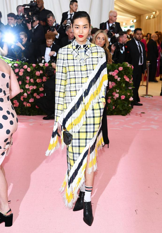Liu Wen in Thom Browne.