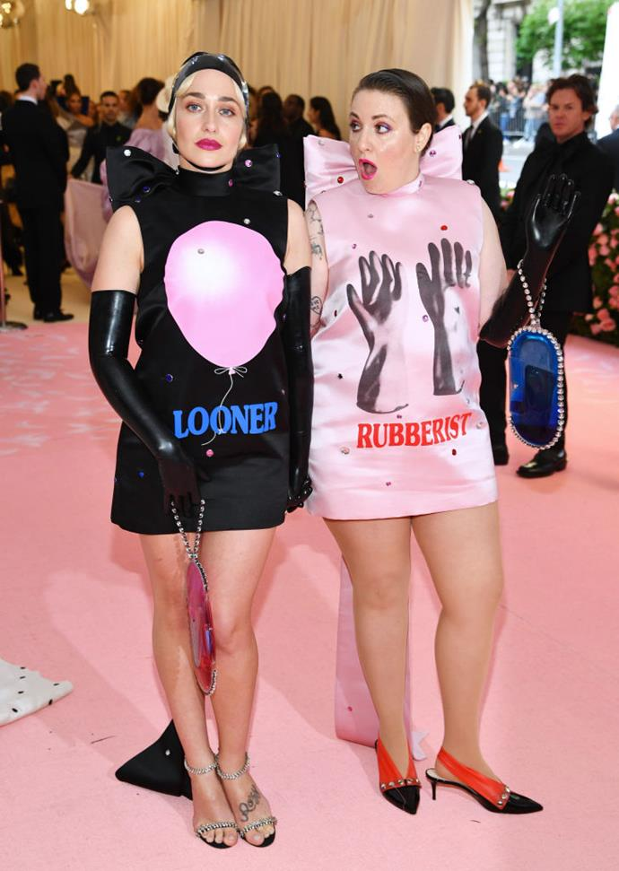 Jemima Kirke and Lena Dunham in Christopher Kane.