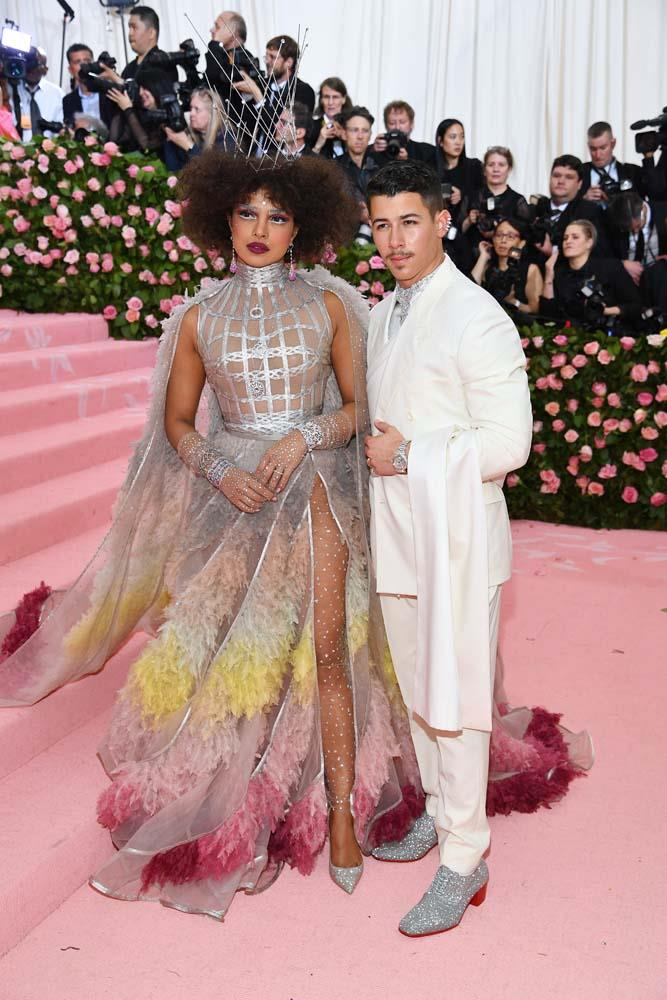 Priyanka Chopra and Nick Jonas, both in Dior.