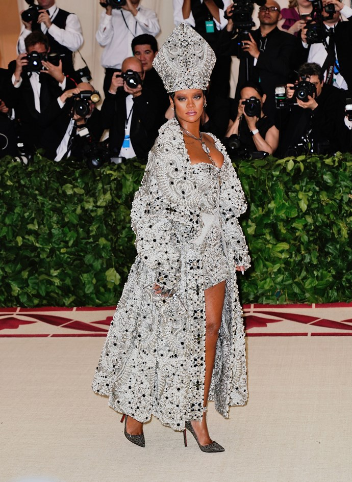 """**Rihanna**<br><br>  Although this year's crop of looks was strong, there's no denying that Rihanna (who we have no doubt we have nailed the theme of 'Camp: Notes on Fashion') was missed at this year's Gala. As for why she didn't grace us with her presence this time around? According to RiRi's recent posts on [Instagram](https://www.instagram.com/badgalriri/ target=""""_blank"""" rel=""""nofollow""""), the singer was busy with the U.K. launch of Fenty Beauty."""