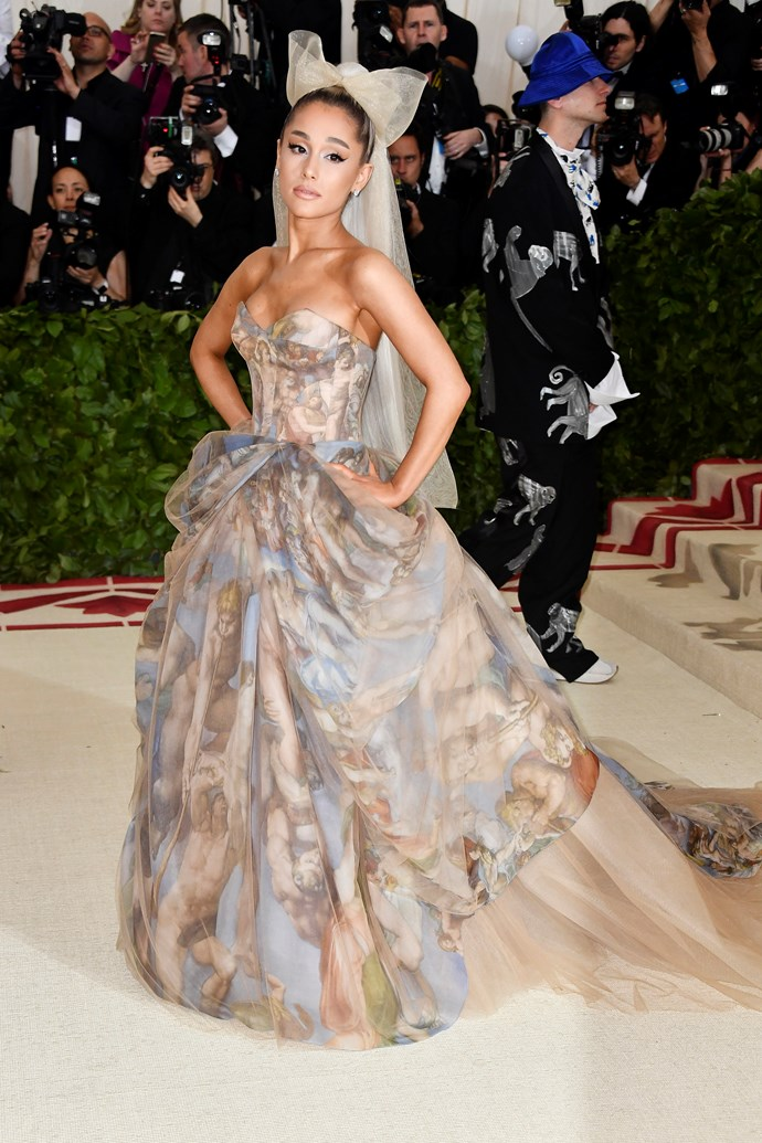 **Ariana Grande**<br><br>  Ariana Grande was a no-show at this year's Gala, with the *7 Rings* singer busy performing at the Staples Centre in Los Angeles on her *Sweetener* tour.