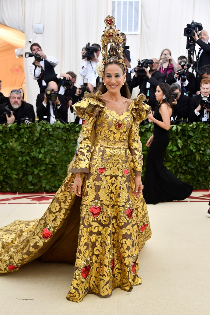 """**Sarah Jessica Parker**<br><br>  Revered for unabashed embracing of the themes (who could forget last year's headpiece?), Sarah Jessica Parker was notably absent from the 2019 Met Gala. Her usual date for the event, Andy Cohen, told *[Entertainment Tonight](https://www.etonline.com/why-sarah-jessica-parker-and-andy-cohen-wont-be-at-the-2019-met-gala-exclusive-124641 target=""""_blank"""" rel=""""nofollow"""")* that the actress was """"on a plane somewhere""""."""
