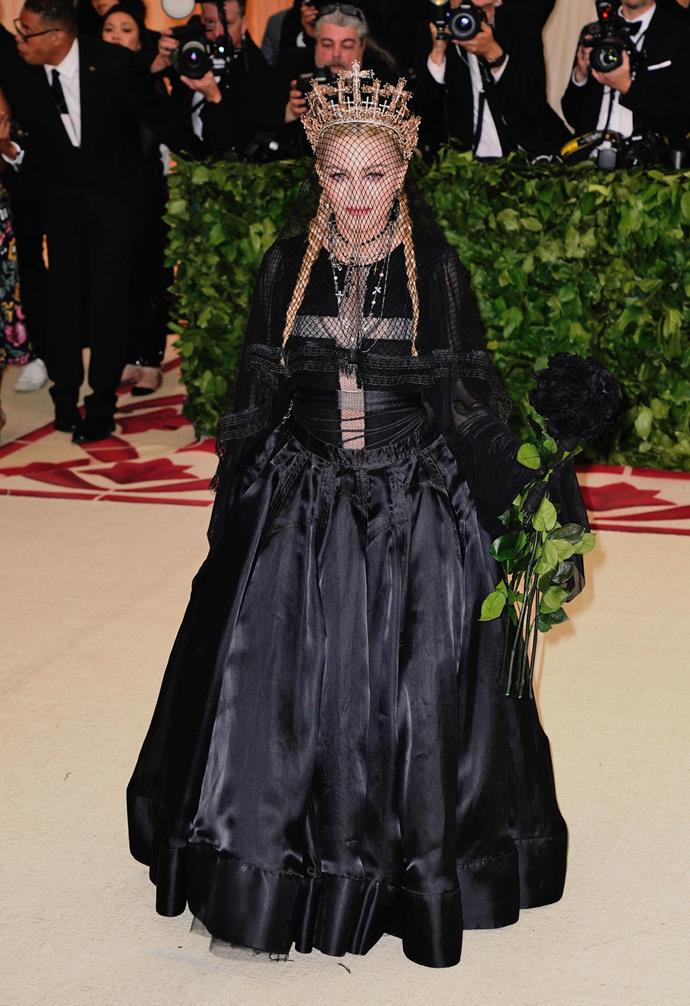 **Madonna**<br><br>  While one would think the theme 'Camp: Notes on Fashion' and Madonna would be a match made in heaven, the *Material Girl* singer skipped out on this year's Gala for unknown reasons.
