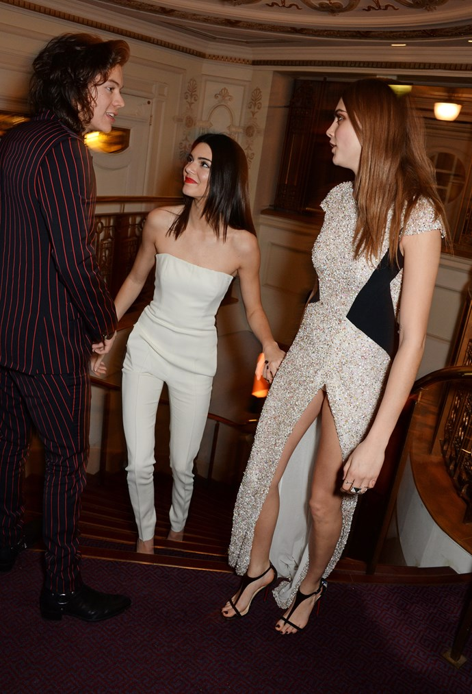 Harry Styles and Kendall Jenner with Cara Delevingne in 2014.