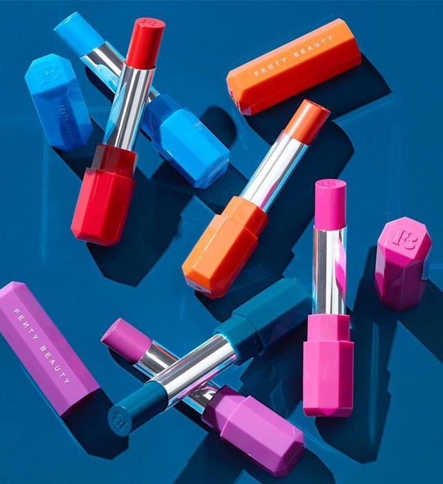 **FENTY BEAUTY GETTING HOTTER COLLECTION** <br><br> This limited-edition collection was inspired by the colours of summer, and sees Fenty products like the Poutsicle Juciy Satin Lipstick range and the Vivid Liquid Eyeliner Trios get a tropical-toned update. Ideal for brightening your daily makeup routine, or adding a pop of neon for a night out.  <br><br> **Release date:** May 10, 2019, at Sephora.