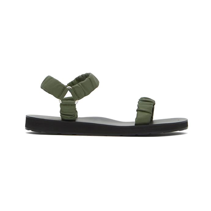 """Sandals by The Row, $910 at [MATCHESFASHION.COM](https://www.matchesfashion.com/au/products/The-Row-Egon-ruched-leather-sandals-1255446 target=""""_blank"""" rel=""""nofollow"""")."""