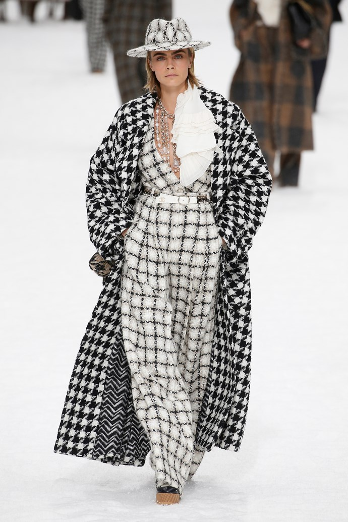 """**The Tweed Hat**<br><br>  """"The tweed fedoras at the Chanel show are the perfect way to top off a winter outfit. For an OTT look, stack layers of tweed on tweed on tweed… you get the gist,"""" said Wong."""
