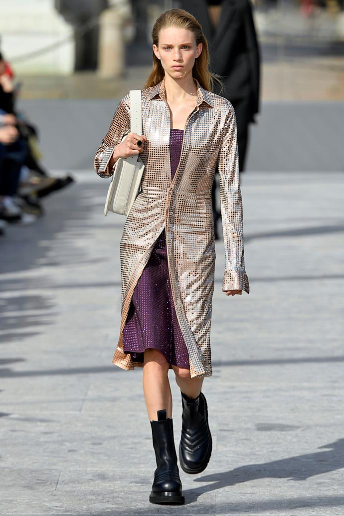 """**The Stomping Boot**<br><br>  """"Stomping boots are huge this season. Juxtaposed against a [sequined](https://www.elle.com.au/fashion/how-to-wear-day-time-sequins-20241