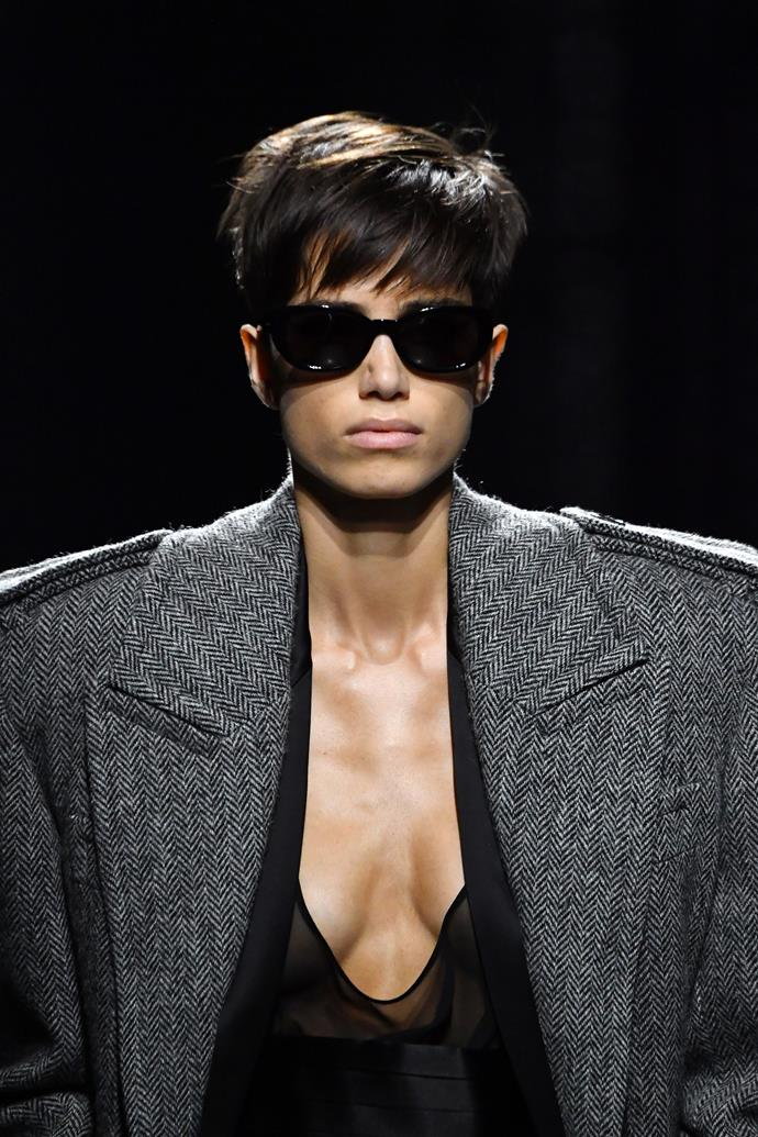 """**The Classic Shades**<br><br>  """"The classic shapes shown at Saint Laurent add the perfect edge of cool without being too OTT,"""" said Wong."""