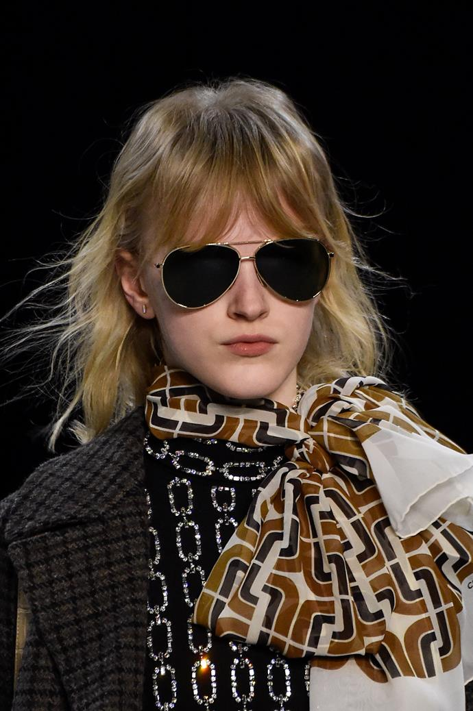 """**The Silk Scarf**<br><br>  """"This winter, go for silk, printed and voluminous when tied around the neck. Pair this with a crisp white blouse and your best oversized blazer to finish the look,"""" said Wong.<br><br>"""