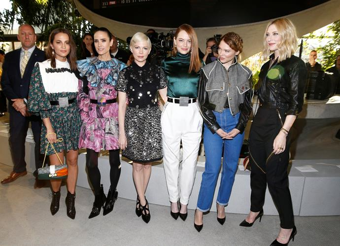 Left to right: Alicia Vikander, Jennifer Connelly, Michelle Williams, Emma Stone, Lea Seydoux and Cate Blanchett.