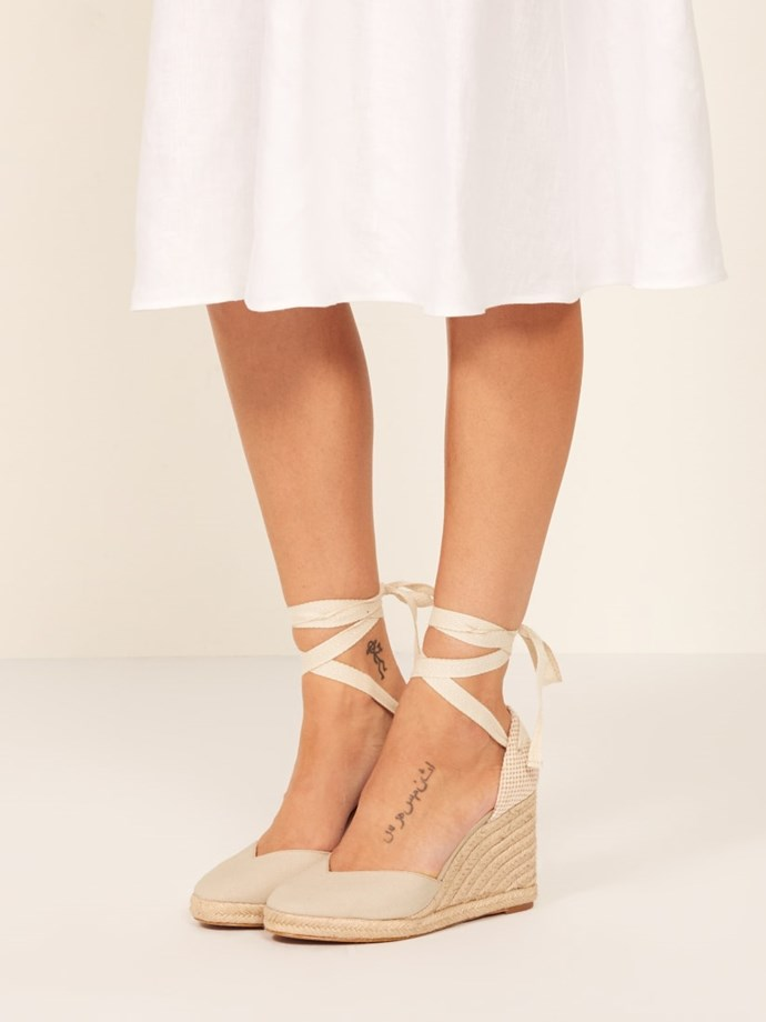 """**Reformation Camille Espadrille, $226 AUD from [Reformation](https://www.thereformation.com/products/camille-espadrille?color=Natural target=""""_blank"""" rel=""""nofollow"""")**"""