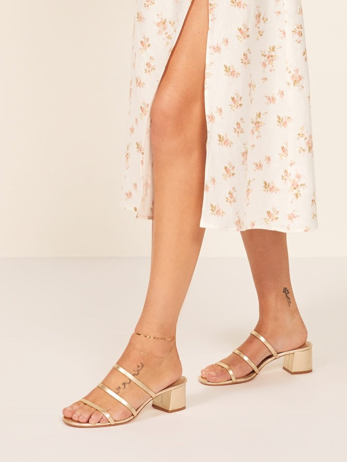 """**Reformation Menage Sandal, $283 AUD from [Reformation](https://www.thereformation.com/products/menage-sandal?color=Gold target=""""_blank"""" rel=""""nofollow"""")**"""