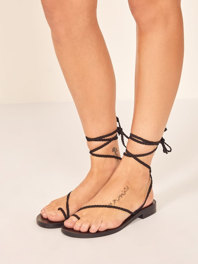 """**Reformation Jeanne Sandal, $226 AUD from [Reformation](https://www.thereformation.com/products/jeanne-sandal?color=Black target=""""_blank"""" rel=""""nofollow"""")**"""