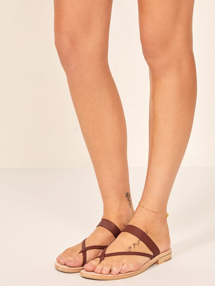 "**Reformation Corsica Sandal, $183 AUD from [Reformation](https://www.thereformation.com/products/corsica-sandal?color=Brown&via=Z2lkOi8vcmVmb3JtYXRpb24td2VibGluYy9Xb3JrYXJlYTo6Q2F0YWxvZzo6Q2F0ZWdvcnkvNWNiZTRlNzdmMzViZTI0YmUzYWRjMTgx target=""_blank"" rel=""nofollow"")**"