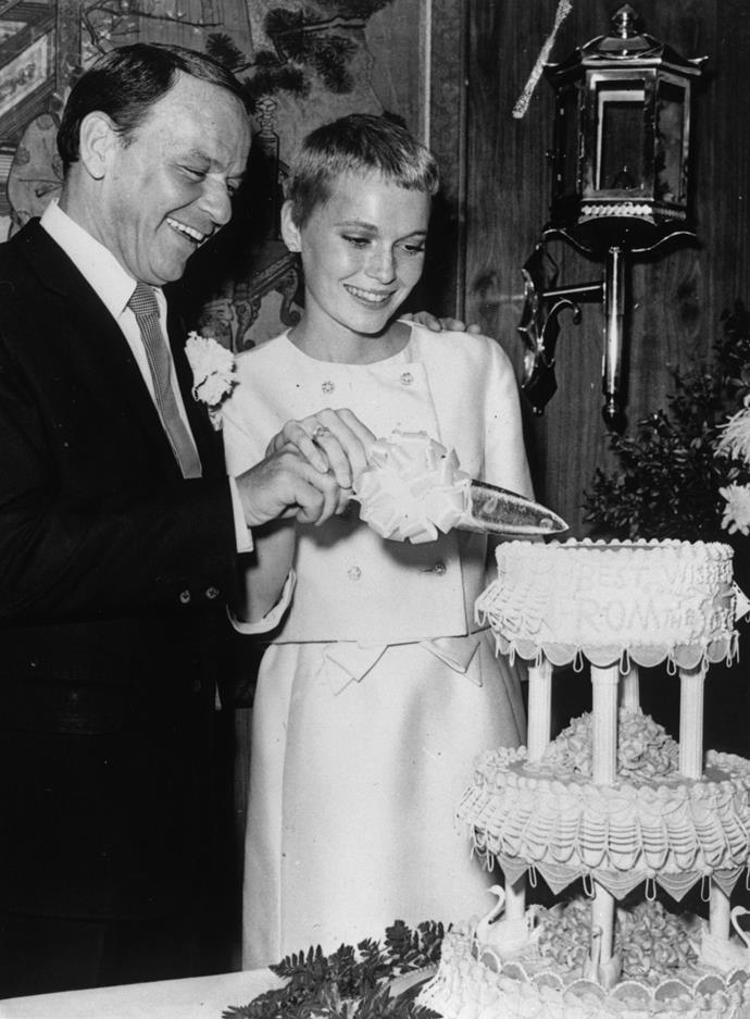 **Frank Sinatra and Mia Farrow** <br><br> The original Vegas celebrity bride and groom, the famous singer and actress tied the knot in 1966 at The Sands Hotel and Casino. Farrow was only 21 at the time, while Sinatra was 50 years old. Sinatra divorced her two years later, when she was filming her famous film *Rosemary's Baby*.