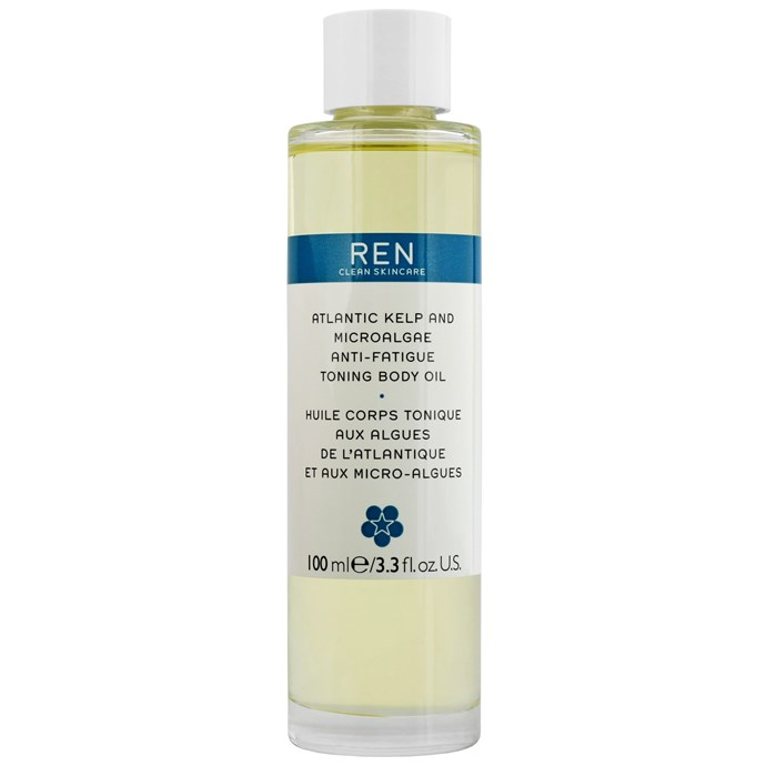 """**Best for fighting fatigue**<br> *REN Clean Skincare Body Atlantic Kelp and Microalgae Anti-Fatigue Toning Body Oil 100ml, for $60 at [allbeauty.com](http://www.allbeauty.com/au/en/1193533-ren-clean-skincare-body-atlantic-kelp-and-microalgae-anti-fatigue-toning-body-oil-100ml-3-3-fl-oz?abref=GoogleShoppingCsAuGoogleAuBandgoogleAuS&utm_source=%7Badtype%7D&utm_medium=FREE&ref=%7Badtype%7D&gclid=EAIaIQobChMIg9noqtWZ4gIVRoePCh31kw1IEAQYAyABEgL-9_D_BwE target=""""_blank"""" rel=""""nofollow"""")* <br> Applicable to the whole body—with a focus on areas of concern—this beauty oil will rejuvenate the skin by replenishing moisture increasing elasticity and softness."""