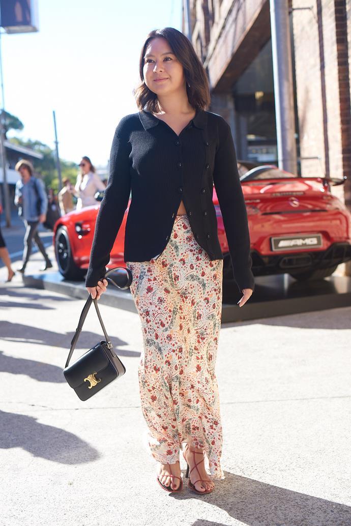 **Caroline Tran, Fashion Editor** <br><br> Christopher Esber cardigan, Paco Rabanne skirt, Celine bag and Celine shoes.