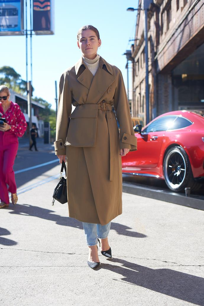 **Nichhia Wippell, Fashion Assistant** <br><br> Joseph coat from The Outnet, Levi jeans, Manolo Blahnik bag and The Daily Edited bag.