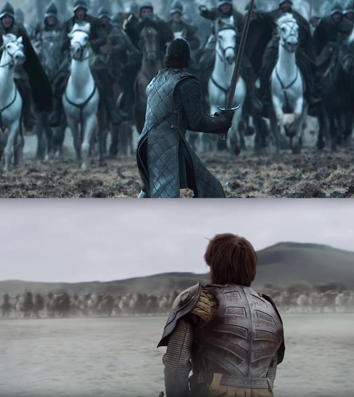 ***One man against an army***<bR><br> One of Jon's best-ever moments is when he finds himself facing Ramsay Bolton's army alone. Instead of running, he draws his sword and faces him. A stark (sorry!) contrast to Harry Strickland, the leader of the Golden Company, who finds himself in the same situation against the Dothraki... but choose to run.