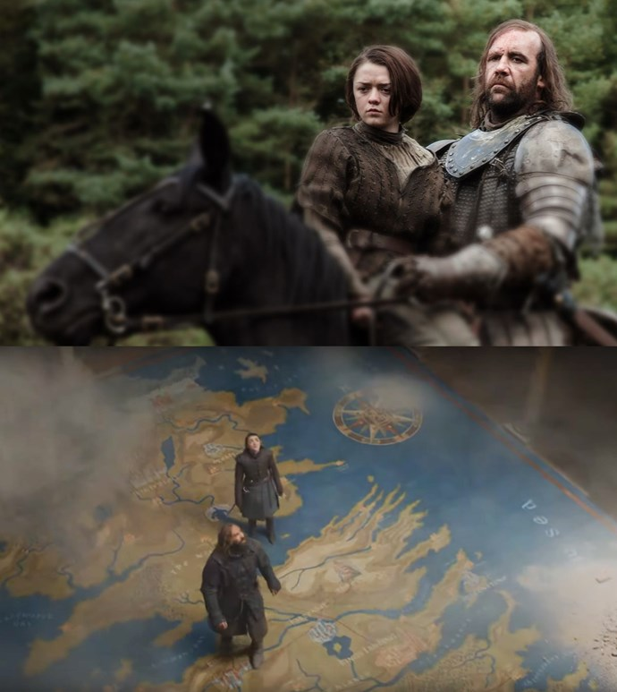 "***Arya and Sandor's journey***<br><br> Arya and Sandor have a long history and it was acknowledged in their final scene together. While Sandor convinces Arya not to find Cersei and to live, they're standing on top of the map, nearly directly over the land they travelled in the first seasons. <br><br> Poignantly, when they part ways, Sandor heads south towards his brother, while Arya turns back around and ""goes North""—back to her family."